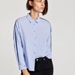 NWT ZARA Shirt Blue Velvet Detail Faux Pearls-  XS